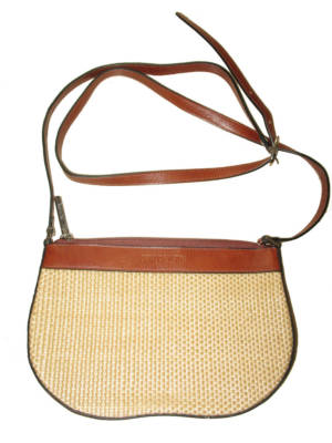 Arthur Aston Straw Faux Leather Brown Cream Handbag