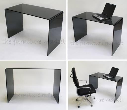 Geo Glass Small Smoked Black Glass Desk Buy In Tarporley