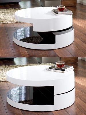 Magia Round Swivel Coffee Table White And Black