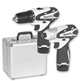 White Makita LCT204W Cordless Drill with Impact Driver Kit