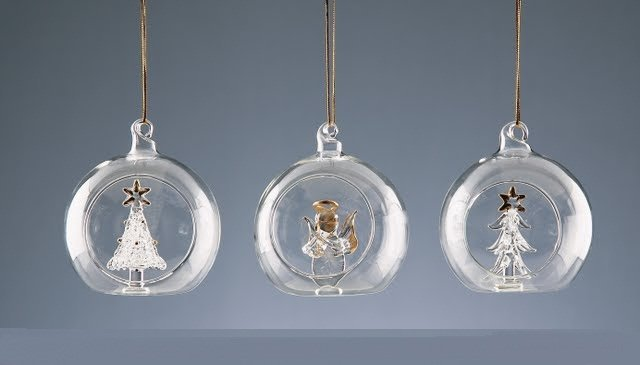8cm Glass Ball with Ornament