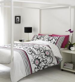 Kendra Black Fuchsia Bed Linen By Linda Barker