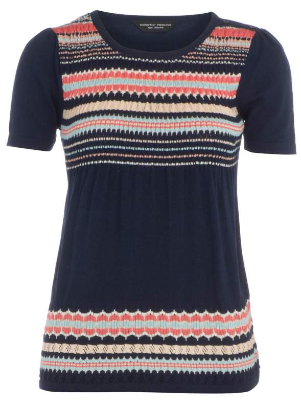 Buy Navy pointelle stripe jumper