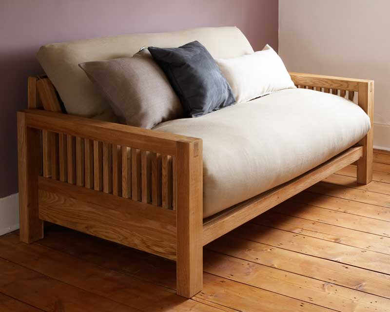 Solid Oak 2 Seater Trifold Sofa Bed