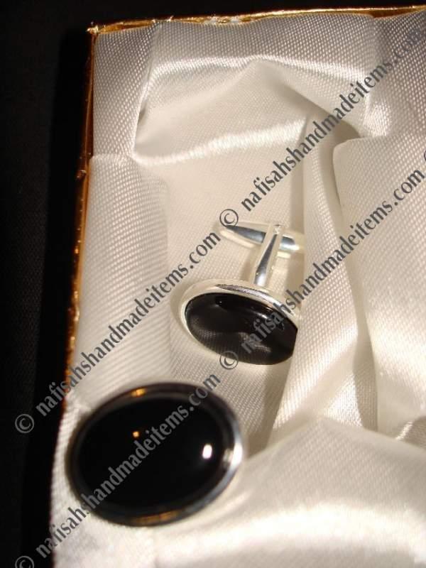 Buy Black Onyx Silver Plated Cufflinks