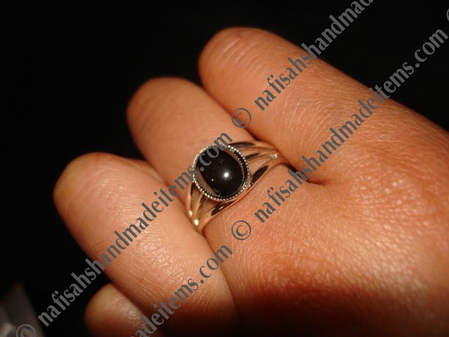Hematite Silver Plated Adjustable Ring