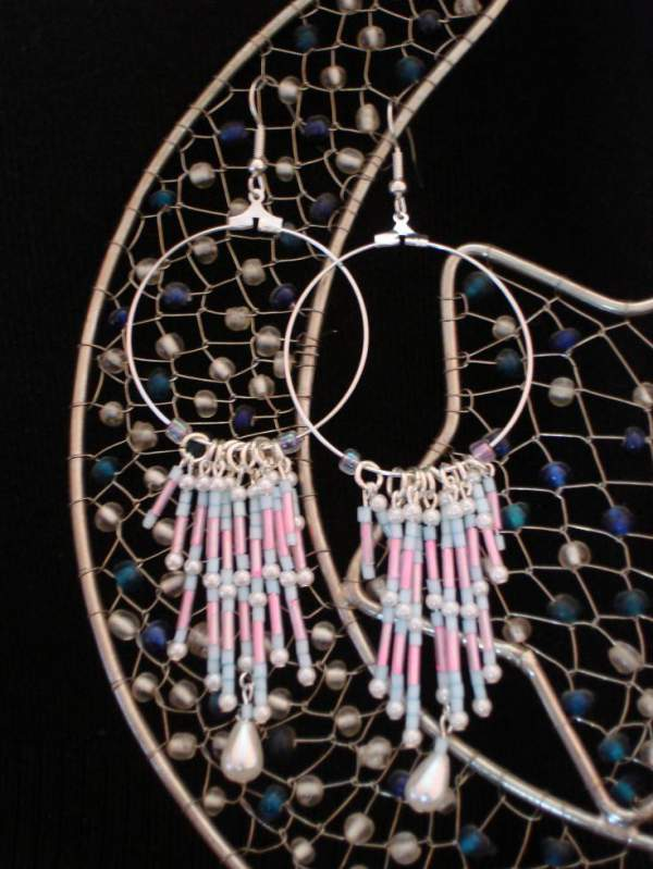 Blue & red earrings