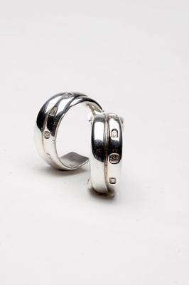 Silver Triple Earrings