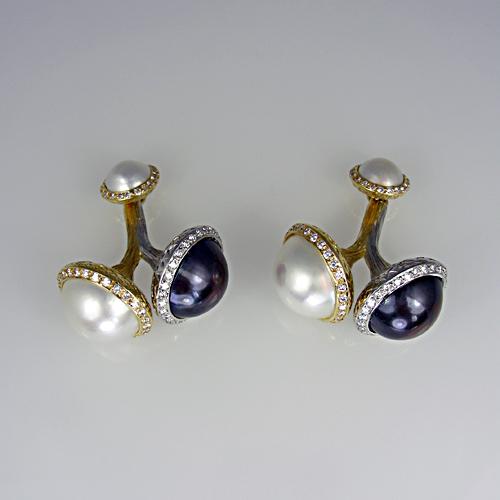 Buy Pearl and diamond cufflinks