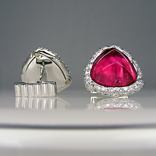 Rubellite and diamond cufflinks