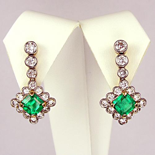 Buy Emerald and diamond drop earrings