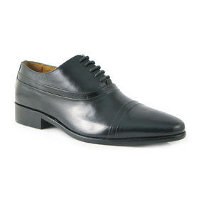 buy George Oliver Black Leather Oxford Mens Shoes