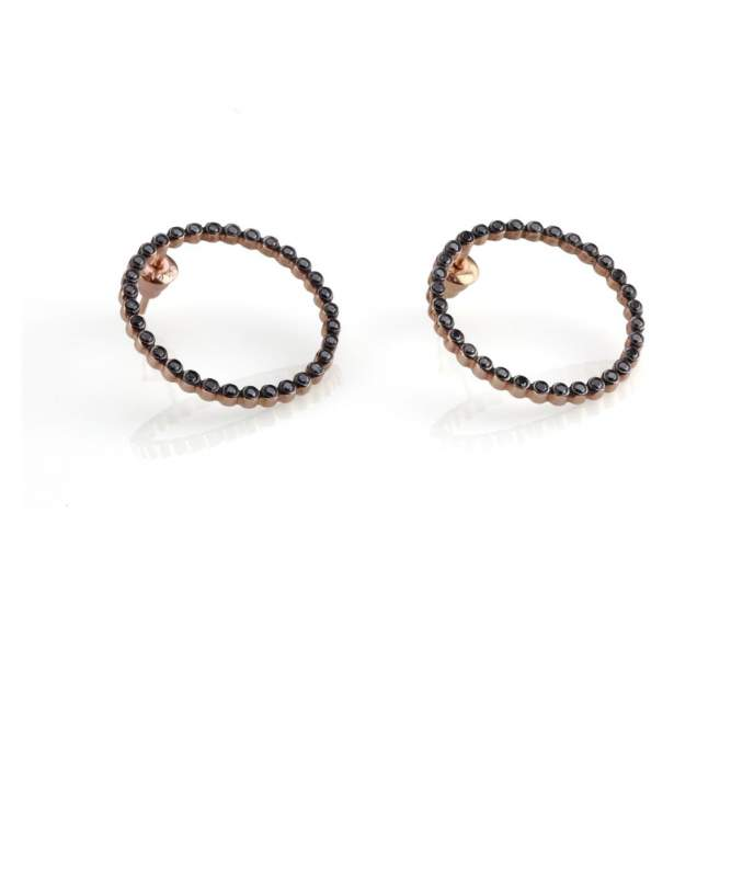 Black Diamond Circle Earrings