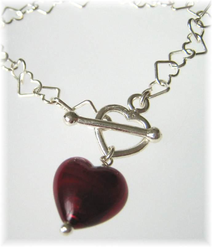Ruby red heart bracelet