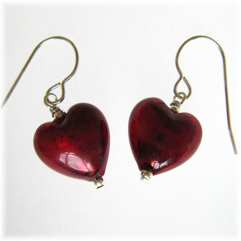 Ruby red heart earrings