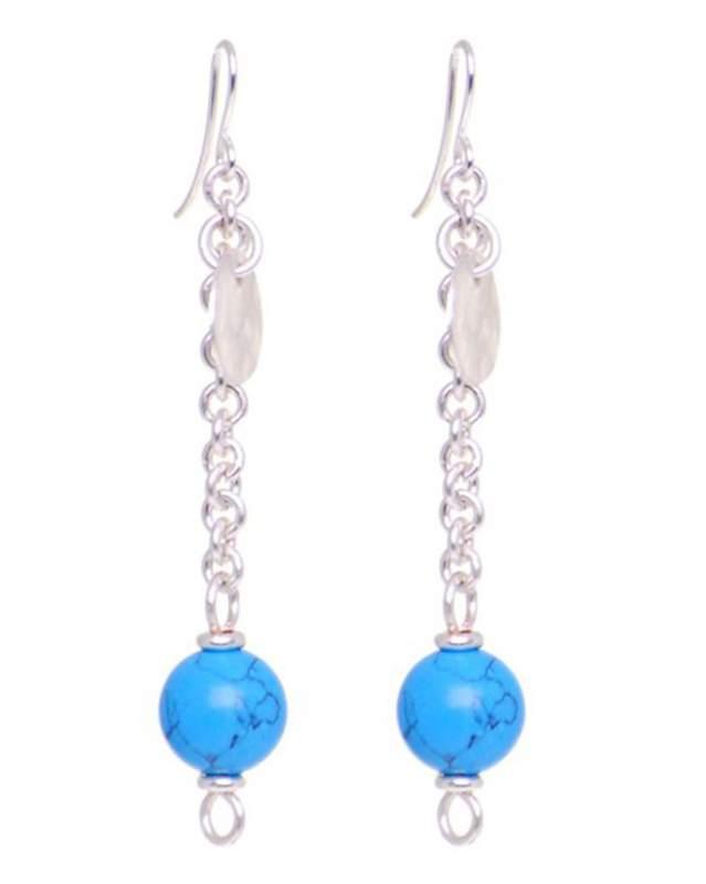 Fair Trade Silver Turquoise Bead Drop Earrings