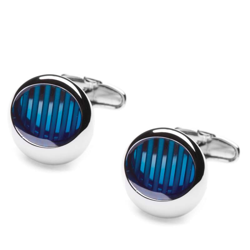 Buy City Stripe Blue Cufflink