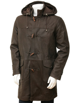Mens Leather Duffle Coat - Coat Nj