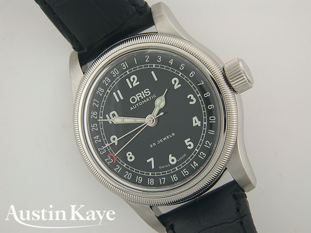Gents Oris Big Crown 39mm black dial steel Automatic on strap