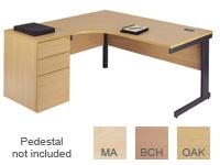 Buy L/H cantilever core workstation 1800mmW, oak/graphite