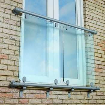 Aluminium Rail Glass Juliet Balcony