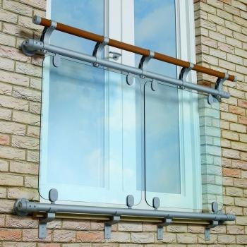 Aluminium & Timber Double Rail Glass Juliet Balcony