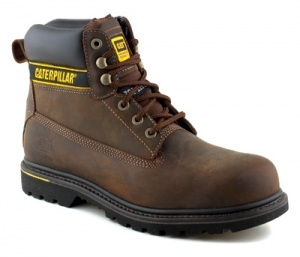Buy CAT Holton Brown Safety Boots With Steel Toe Cap SB