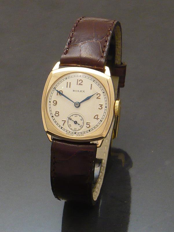 Rolex 1930s 9ct gold cushion Watch