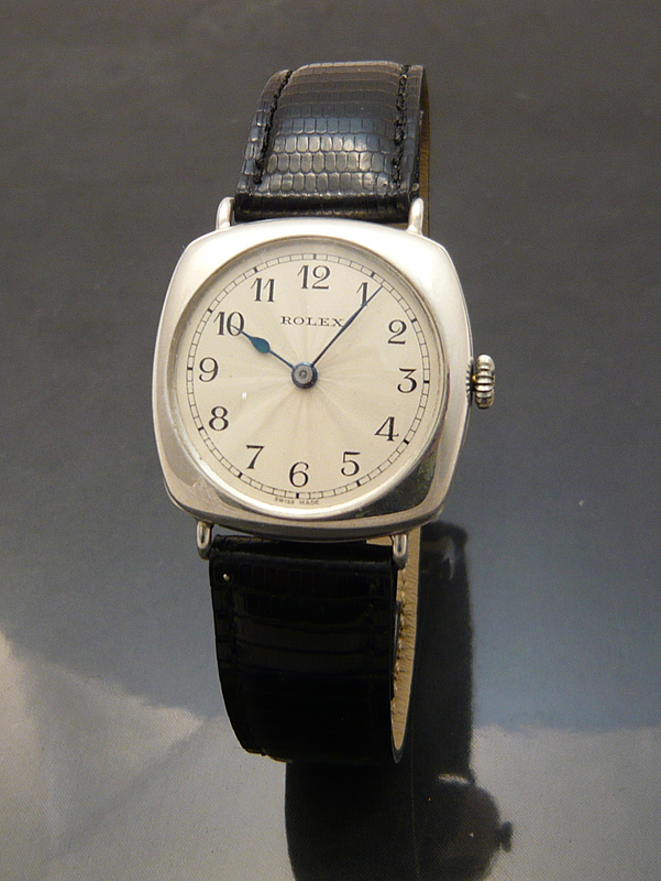 Rolex 1920s silver cushion Watch