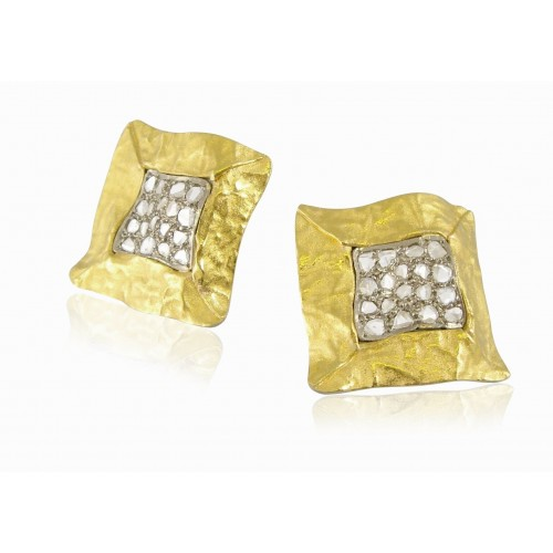 1970's Gold and Diamonds Earrings