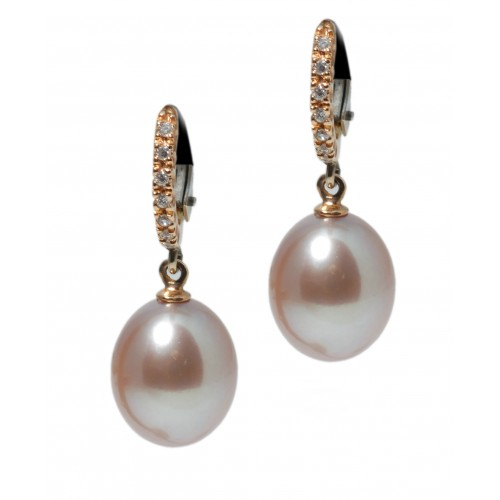 Freshwater Pink Drop Pearl Earrings