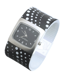 Buy Black and White spotty Bangle Watch