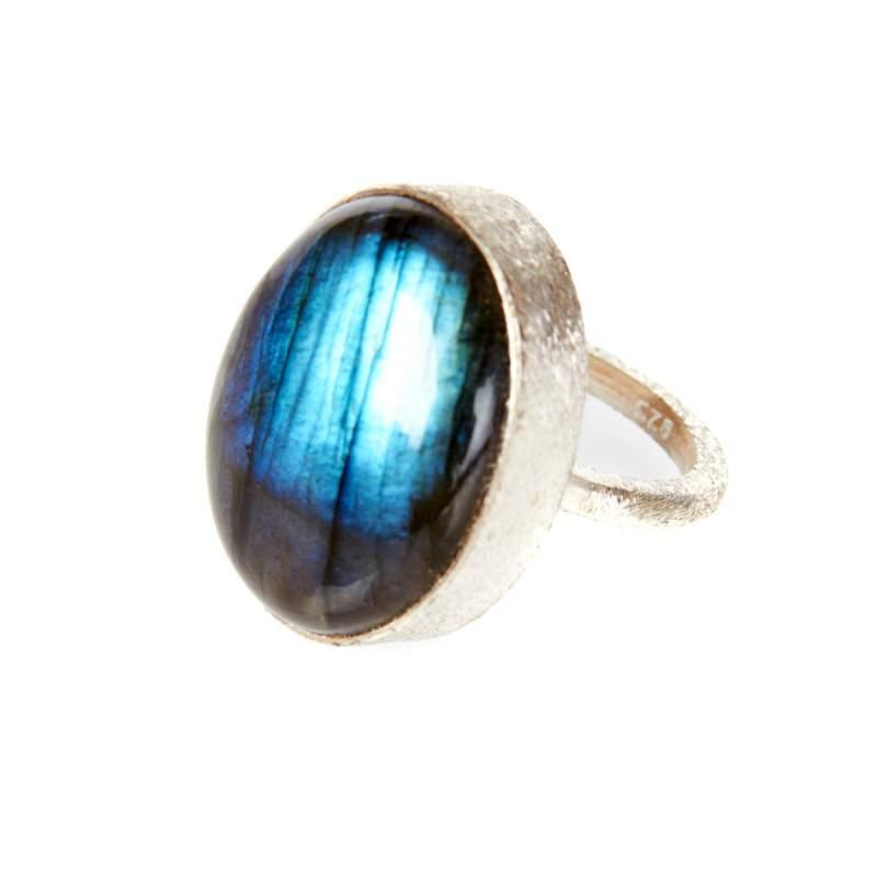 Ashiana Simple Labrodorite Ring Silver