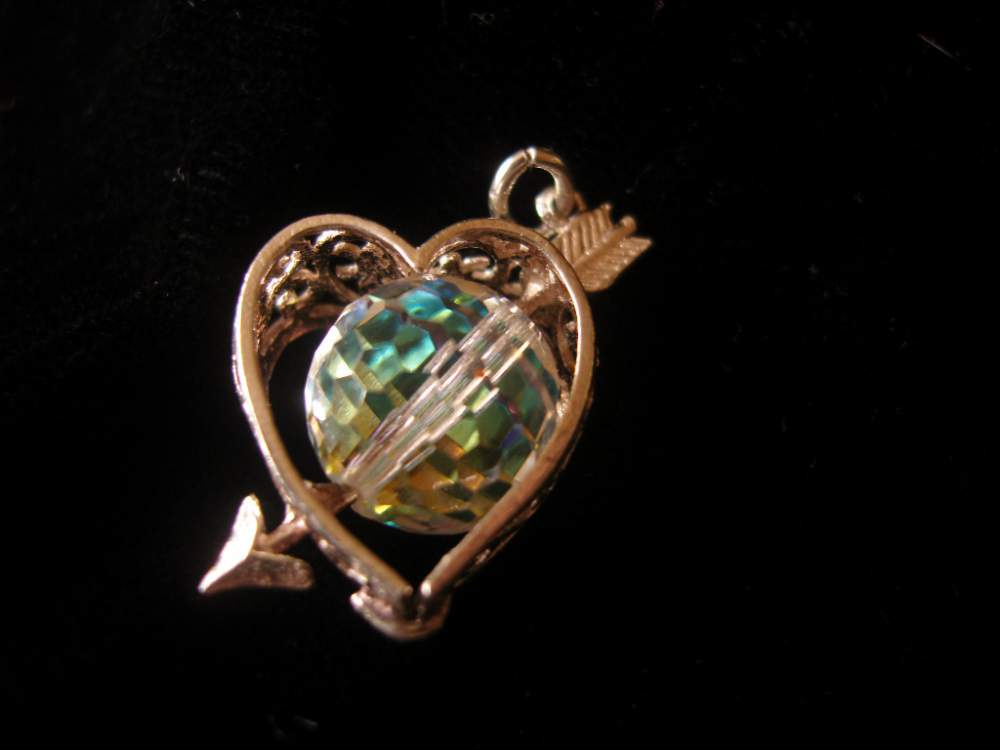 Buy Vintage silver heart arrow crystal charm