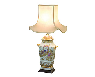 Buy Hand-Painted Gilded Lamp with Pagoda Shade