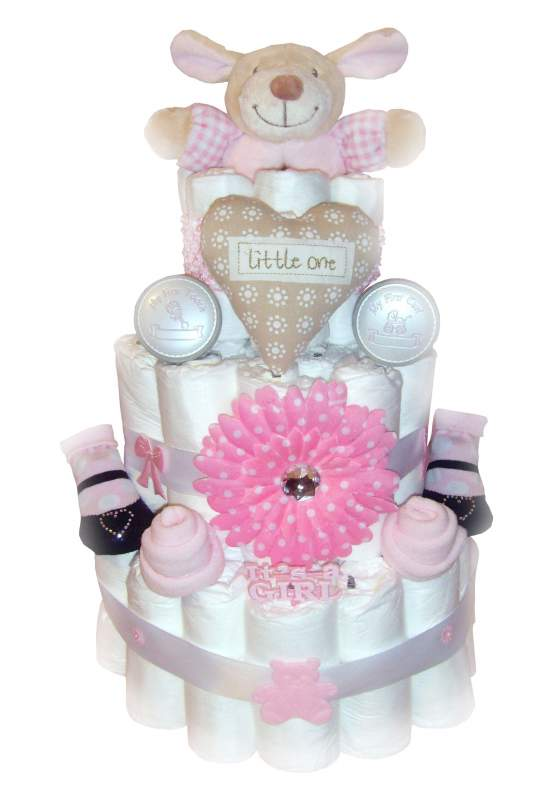 Buy Baby Girl Pink 3 Tier Nappy Cake