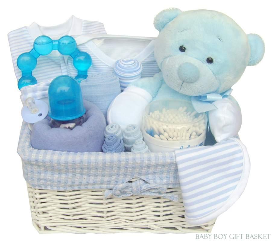 Buy Newborn Baby Boy Blue Gift Basket