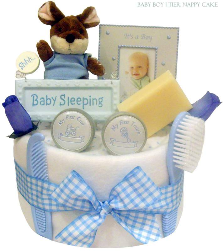 Buy Baby Boy Blue 1 Tier Nappy Cake