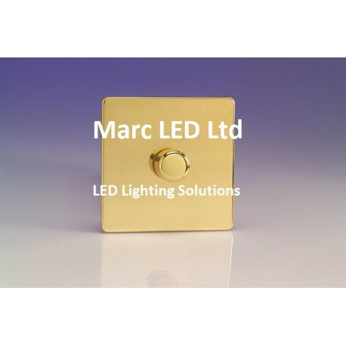 Buy Universal Dimmer Switch, max. load 400W, Polished Brass, Screwless, Flat Plate