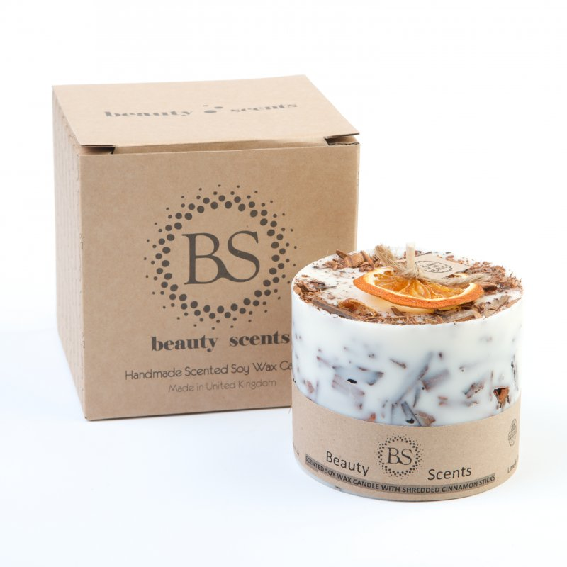 Buy Beauty Scents Handmade Cinnamon & Orange Scented Soy Wax Candle with Cinnamon Shredded Sticks
