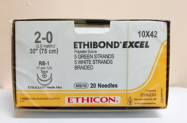 "Buy Ethicon 10X42 ETHIBOND EXCEL Suture 2-0 10-30"" (75 cm)"