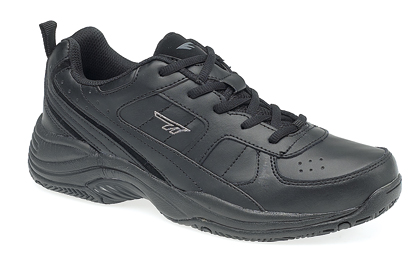 Size 13 Mens Trainer Black Leather Lace Up Shoe By Hi-Tec