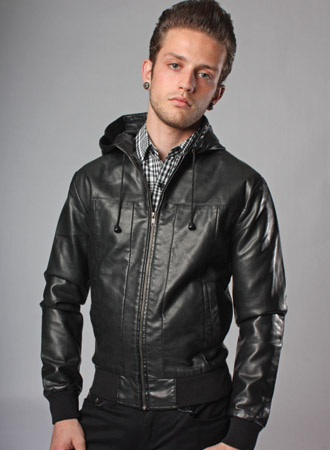 Mens Faux Leather Bomber Jacket - Coat Nj