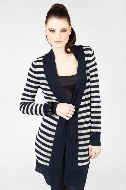 Buy Navy Striped Longline Cardigan