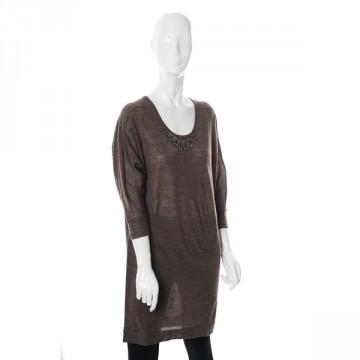 Buy Mushroom brown round neck tunic with beaded neckline