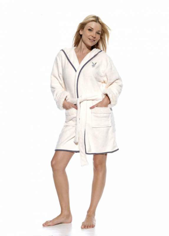 Womens Fluffy Playboy Dressing Gown with sparkly trim buy in Nottingham