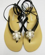 Black Ava Crystal Sandal