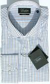 Simon Olive/Blue Check Slim Fit Mens Shirt