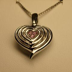 Amazing Modern Pink Sapphire Set Heart Pendants