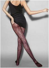 Black Fashion Tights with Red Henna Print Roma